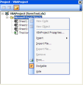 Inseting form in VBA