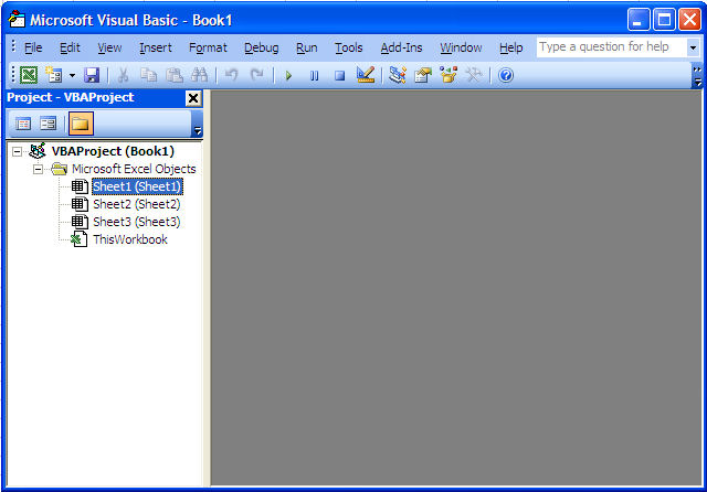Setting the Visual Basic Editor in Excel