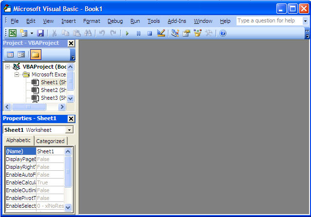 Properties Window in the Visual BBasic Editor for Excel